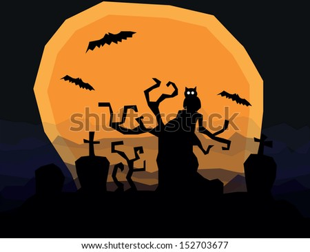halloween horror landscape with scary tree