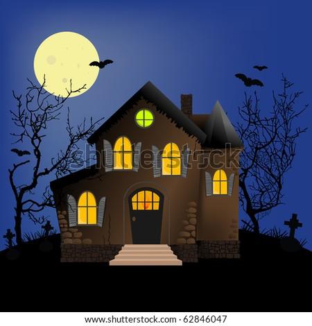 Halloween horror scene or postcard background (EPS10) - stock vector