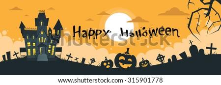 Halloween House Cemetery Graveyard Card Pumpkin Face Banner Flat Vector Illustration - stock vector