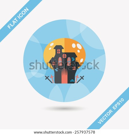 Halloween house flat icon with long shadow,eps10 - stock vector