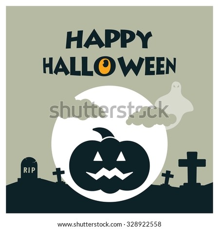 Halloween House Ghost Pumpkin Face Party Invitation Card Flat Greenish gray background Vector Illustration
