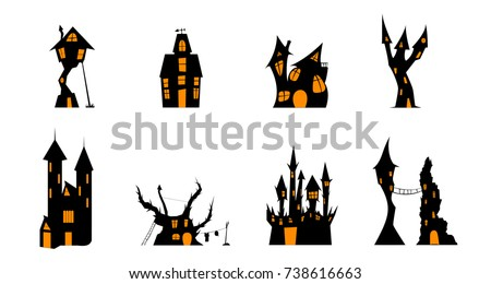 Halloween House Silhouette Of Home Castle Hut On A Rock