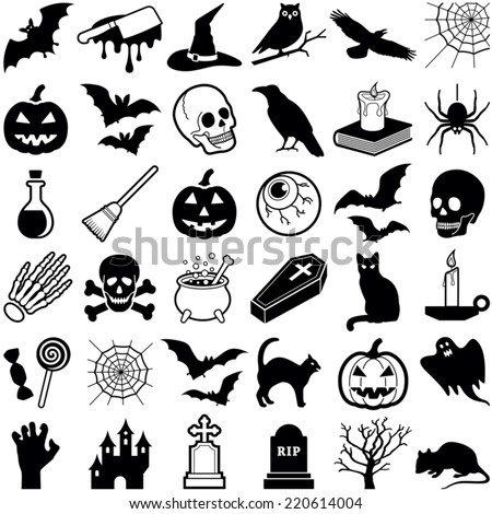 Halloween icon collection - vector illustration  - stock vector