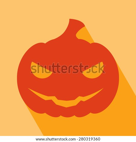 Halloween Icon. Pumpkin Icon. Pumpkin Icon vector isolated on orange background. Pumpkin Icon with Long Shadow. All in a single layer. Vector illustration. Elements for design. - stock vector