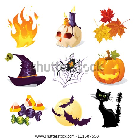 Halloween icon set - stock vector