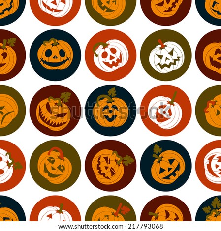 Halloween icon set of cheerful pumpkins. - stock vector