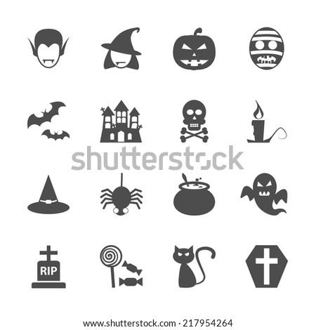 halloween icon set, vector eps10. - stock vector