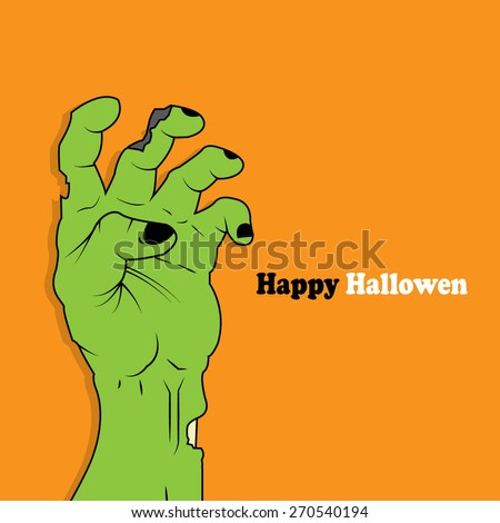 halloween icon - zombie hand - stock vector