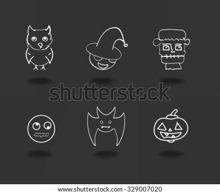 Halloween icons hand drawn - stock vector