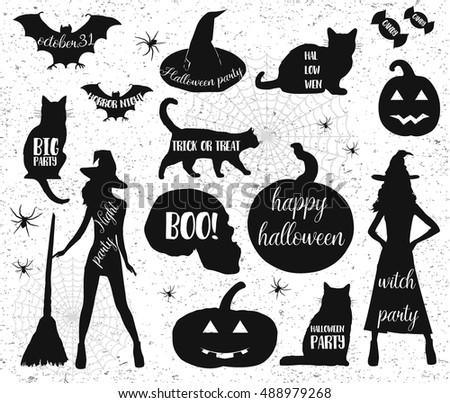 Halloween icons.Happy halloween,halloween party,witch big party.Vector.Halloween Silhouettes.Halloween Witch,Halloween pumpkin.Halloween elements.Halloween party. Halloween night . Halloween monster.