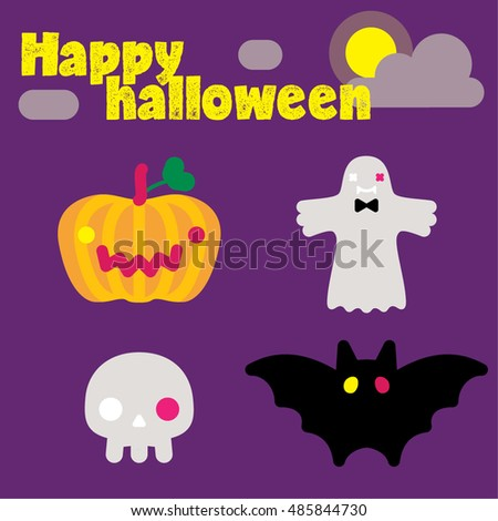Halloween icons party. Vector illustration. Halloween cartoon pumpkin, ghost, bat, skull fun icons. Cartoon halloween stickers.