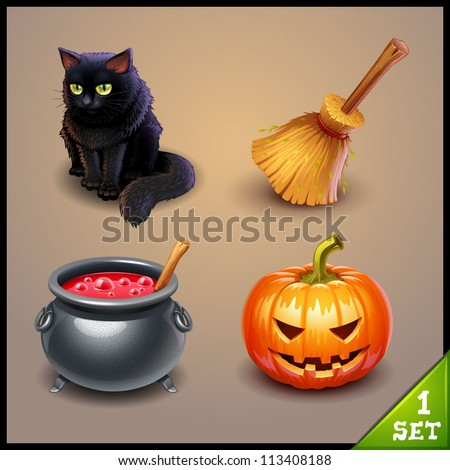 halloween icons-set 1 - stock vector