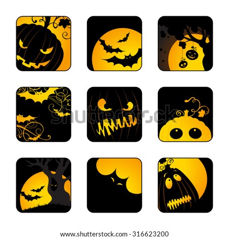 Halloween icons set. Design elements with Jack-O-Lanterns, bats, moon, trees for your design isolated on transparent background.