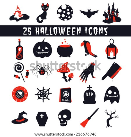 Halloween Icons set flat icons for Halloween with horror stories - stock vector