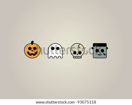 Halloween Icons. Set of four playful Halloween icons. Jack-o-lantern, Ghost, Skeleton and Frankenstein. - stock vector