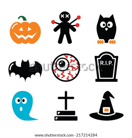 Halloween icons set - pumpkin, witch, ghost    - stock vector