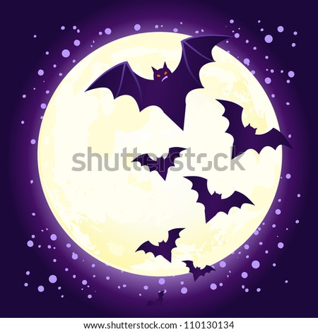 Halloween illustration: cute vector bat flying against full moon - stock vector