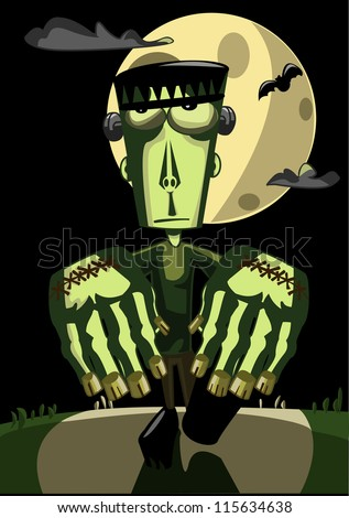 Halloween illustration: Frankenstein Monster - stock vector