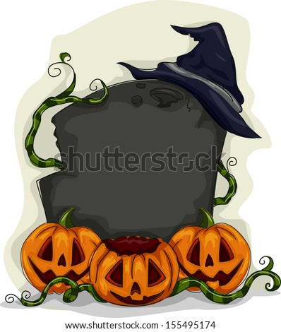 Halloween Illustration of a Blank Tombstone Surrounded by Jack-o'-Lanterns and Vines - stock vector