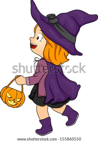 Halloween Illustration of a Little Girl Dressed as a Witch Carrying a Trick or Treat Bag - stock vector