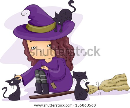 Halloween Illustration of a Little Girl Dressed as a Witch Playing with Black Cats - stock vector