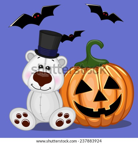 Halloween illustration of Cartoon Polar Bear with pumpkin  - stock vector