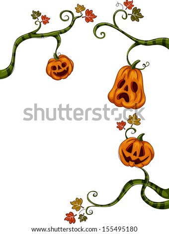 Halloween Illustration of Jack-o'-Lanterns Hanging from Vines - stock vector