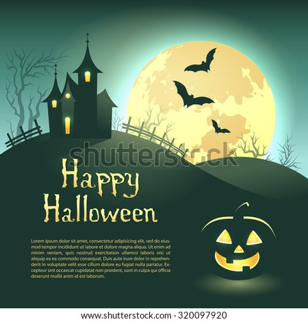 Halloween illustration of mysterious night landscape with castle and full moon. Template for your design with space for text. Vector EPS 10 - stock vector