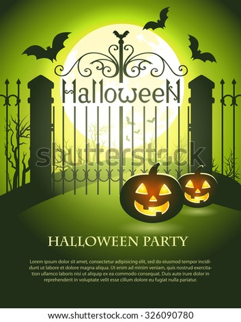 Halloween illustration of mysterious night landscape with old gates, bats, full moon and pumpkins. Halloween poster with space for text. Template for your design. Vector EPS 10 - stock vector