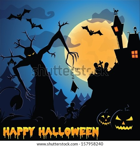 Halloween illustration - silhouette of creepy forest - stock vector