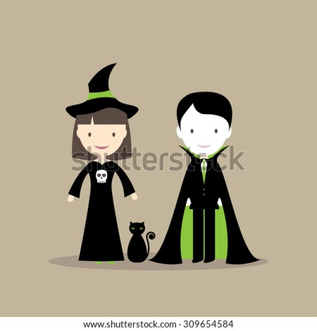 Halloween illustration - witch, cat and vampire