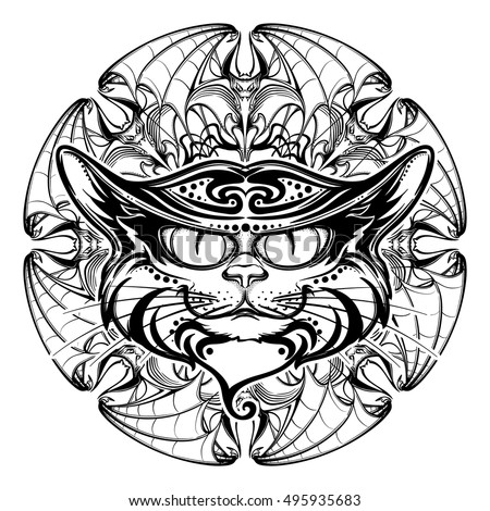 Halloween illustration with black cat head on circular ornament of bat wings. Intricate hand drawing. Halloween concept design. T-shirt print. Tattoo design. EPS10 vector illustration.