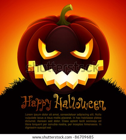 Halloween illustration with pumpkin on sky background.Check my portfolio for raster version. - stock vector