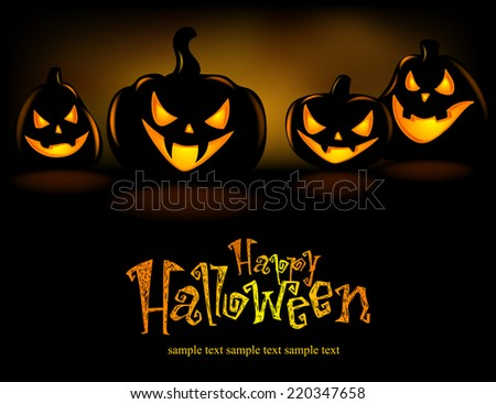 Halloween Illustration with Pumpkins for banners or invite cards  - stock vector