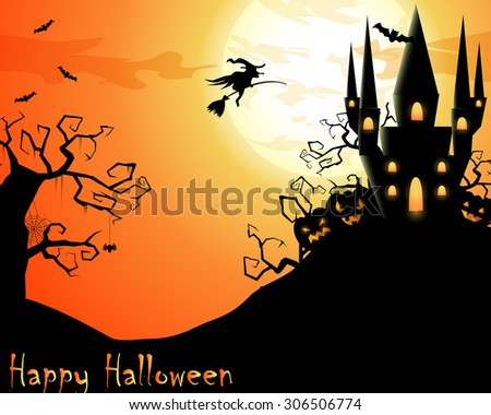 Halloween illustration with scary house and flying witch