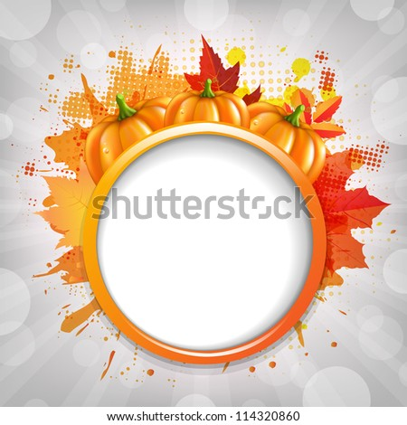 Halloween Illustrations With Pumpkins With Bokeh And Rays, Vector Illustration - stock vector