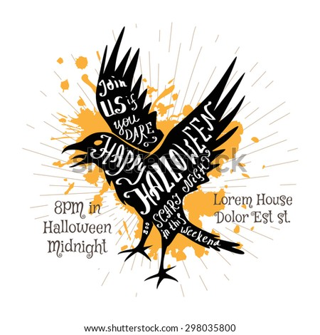Halloween invitation banner with black shape of flying crow and calligraphic holiday wishes. Hand lettering poster. - stock vector