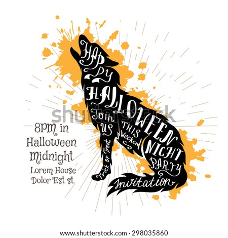 Halloween invitation banner with black shape of wolf and calligraphic holiday wishes. Halloween retro hand lettering poster. - stock vector
