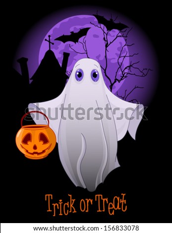 Halloween invitation  of  Trick or Treating Ghost - stock vector