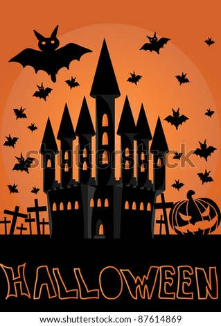 halloween invitation or background with castle and bats