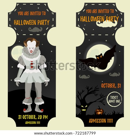 Halloween Invitation Template Scary Clown Big Stock Vector