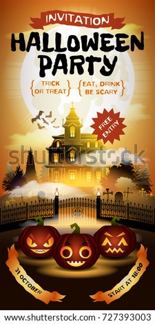 Halloween invitation free entrance pumpkins on stock vector halloween invitation with free entrance pumpkins on graveyard in horror moonlight haunted castle on stopboris Choice Image