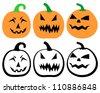 Halloween Isolated Pumpkins on White Background, Vector Illustration - stock vector