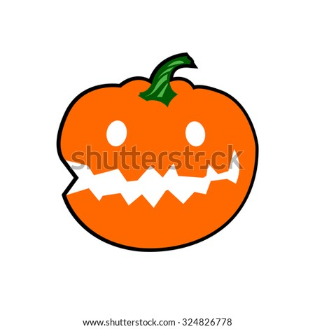 halloween Jack Lantern Pumpkins isolated on white. Vector Illustration