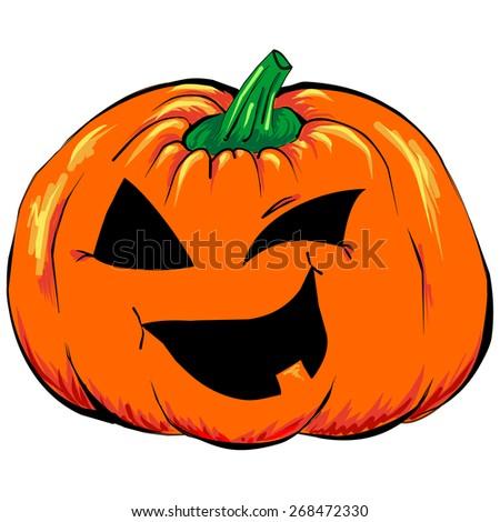 Halloween jack-o-lantern pumpkin isolated - stock vector