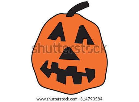 Halloween Jack-o-Lantern Vector Line Drawing that can be used for party invitations, greeting cards, scrap booking, decorations, labels and so much more. - stock vector