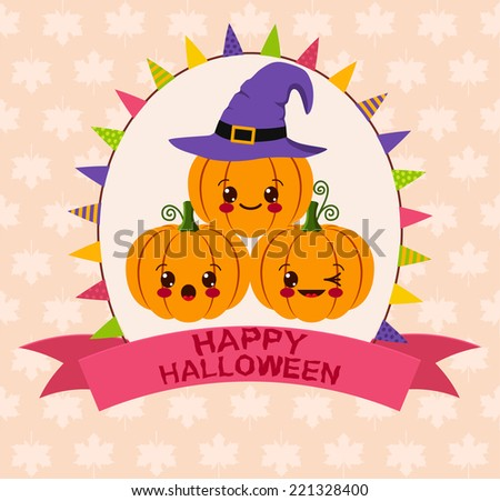 Halloween kawaii card - stock vector