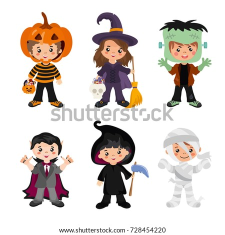 halloween kids character set children in a colorful halloween costumes vampire witch - Halloween Images Kids