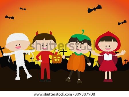 Halloween kids characters - stock vector