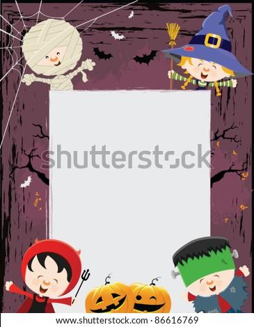 Halloween Kids Message - stock vector